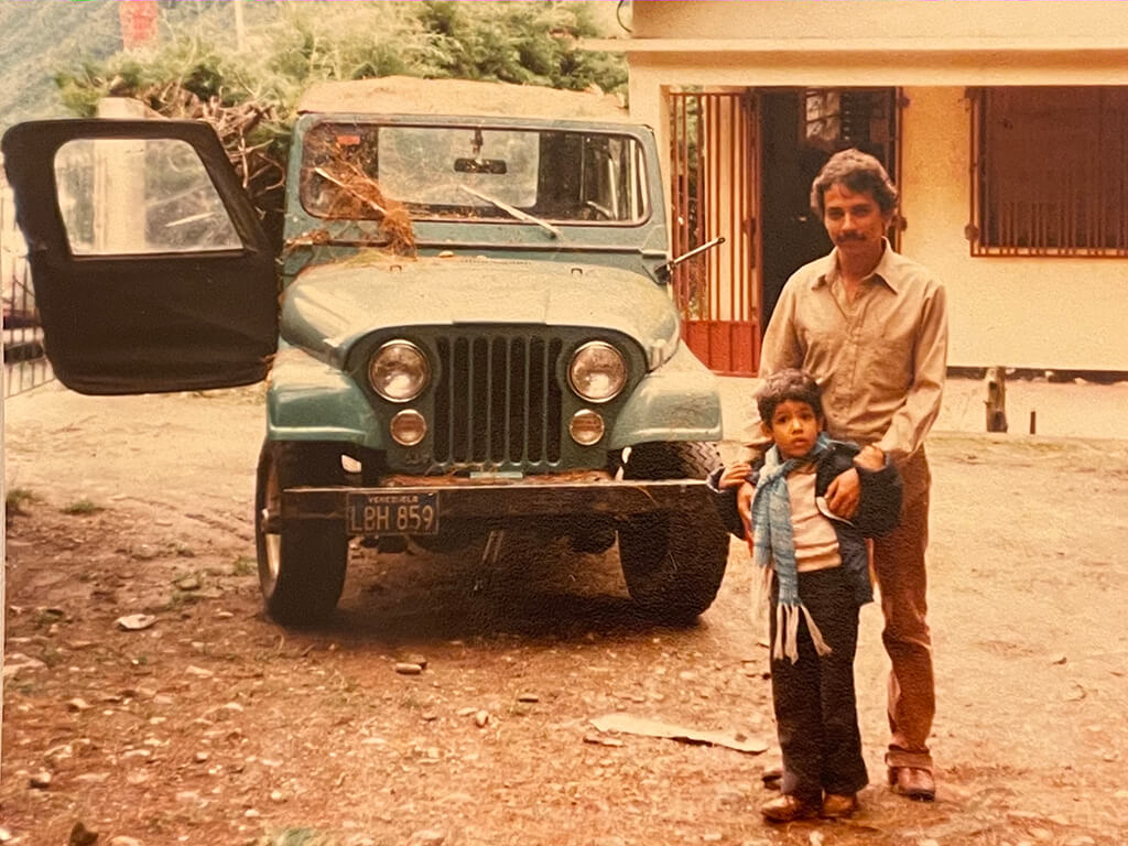 Ernesto and Dad with his Jeep