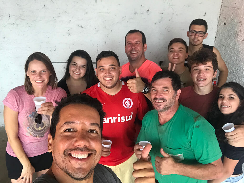 Mechanic and his family in Brazil